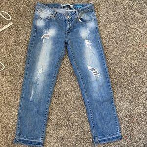 Zara Trf distressed straight ankle jeans Sz 8